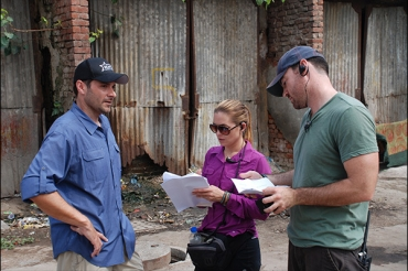 Discussing strategies with our Co-Executive Producer, Melinda and Supervising Producer, Evan at the contact point.