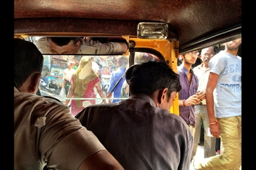 Inside the chaotic tuk tuk. Only got rear ended once!