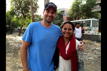 Parvati and I in one of the neighborhoods for the Mobile School Bus Program.